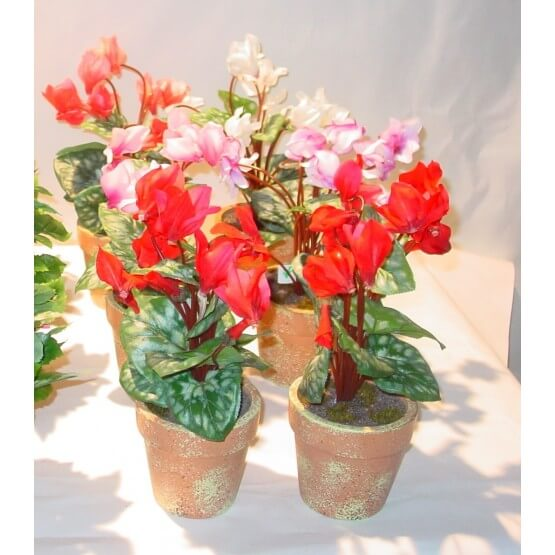 Cyclamen artificiel en pot - Par 6 pot