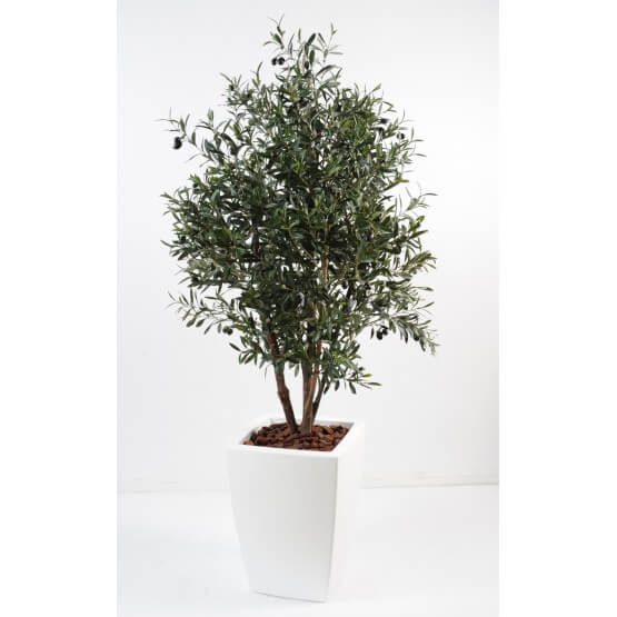 Olivier artificiel new buisson en bac pure blanc 180 cm