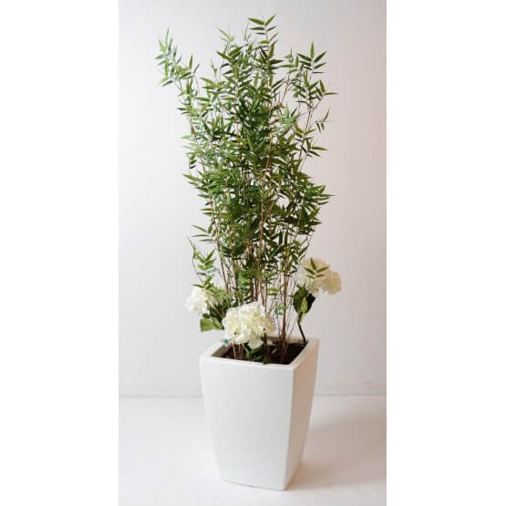 Bambou artificiel multitree en pot pure blanc 170 cm