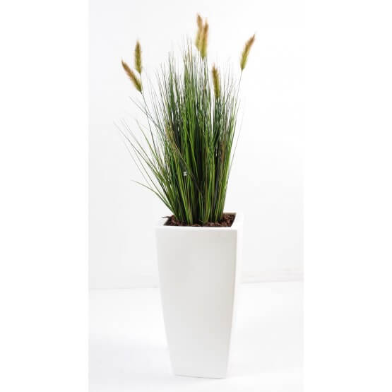Foxtail artificiel pot pure blanc 120 cm