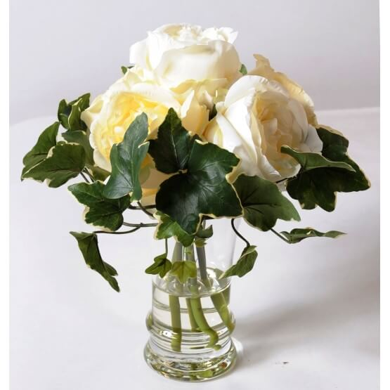 Bouquet artificiel de roses blanches