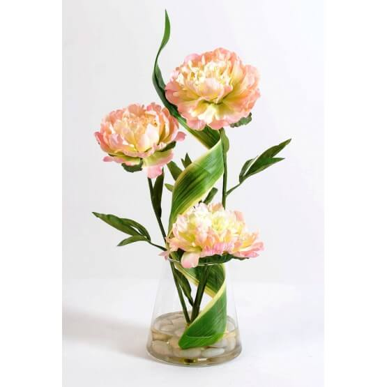 Bouquet tourbillon de 3 pivoines artificielles 58 cm
