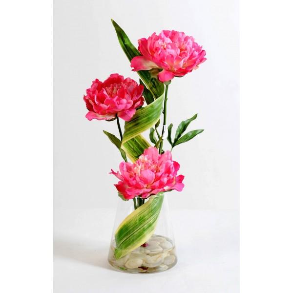 bouquet tourbillon de 3 pivoines artificielles 58 cm 79 26. Black Bedroom Furniture Sets. Home Design Ideas