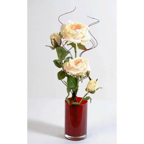 Bouquet roses artificilles modernes blanches - 55 cm