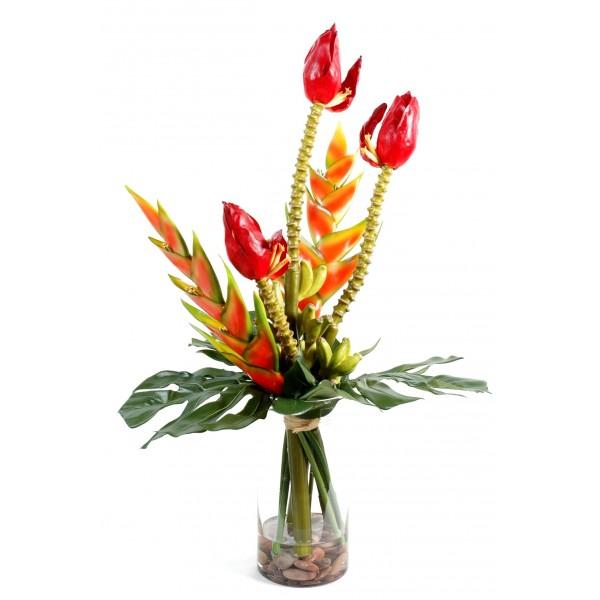 Bouquet artificiel h liconia fleurs de bananes 90 x 60 cm 159 - Bouquet de fleur artificielle ...