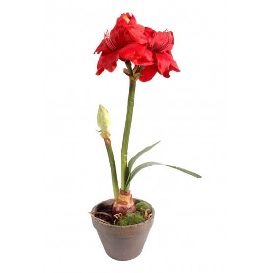 Amaryllis artificiel en pot terre 65 cm