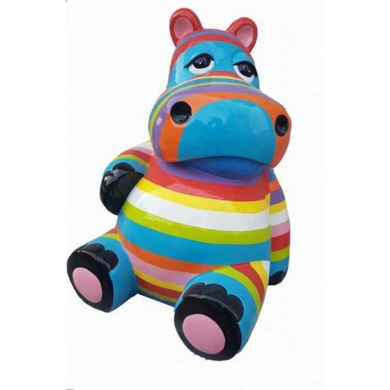 Hippopotame multicolore assis en résine brillant