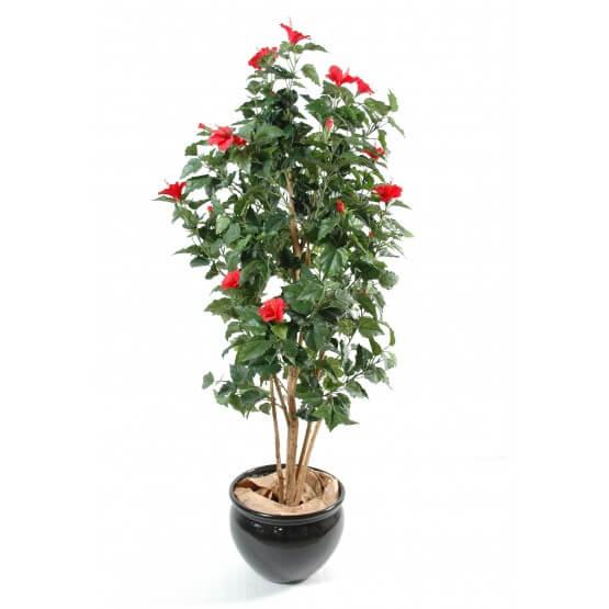 Hibiscus artificiel - Tronc bois naturel 150 cm
